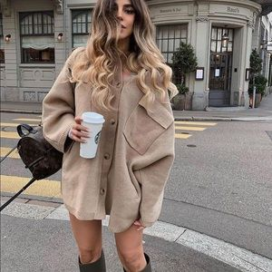 Zara knit oversized wool blend coat blogger